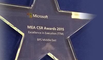 "BPS Middle East Wins ""2015 Microsoft CSR (SPLAR) Award for MEA"""